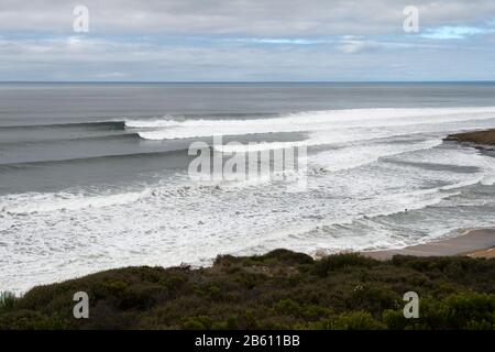 Bells Beach Surfing, on the Great Ocean Road,Victoria Australia -home of the longest running pro surfing contest. - Stock Photo