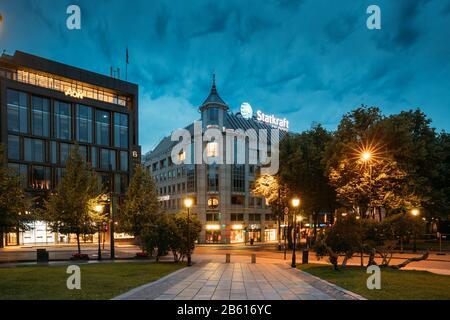 Oslo, Norway - June 24, 2019: Night View Of Stortingsgata Street. Centrum District In Summer Evening. - Stock Photo