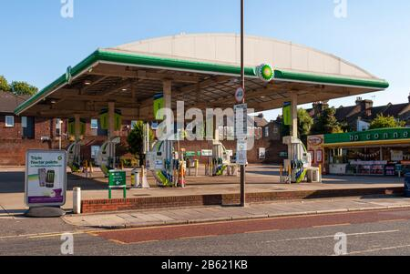 London, England, UK - July 31, 2010: A sign on a BP petrol station in Woolwich, south east London, announces that it has been closed down in a protest - Stock Photo