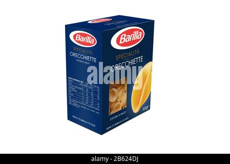 Italy -Jjanuary 30, 2020: 3D rendering orecchiette pack of Barilla Italian pasta on white  illustrative editorial - Stock Photo