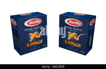 Italy -Jjanuary 30, 2020: 3D rendering lasagne  pack of Barilla Italian pasta on white  illustrative editorial - Stock Photo