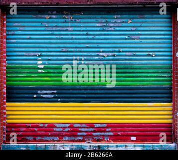 Hong Kong,China:29 Feb,2020.   Hong Kong coloured shutters Jayne Russell/Alamy Stock Image Stock Photo