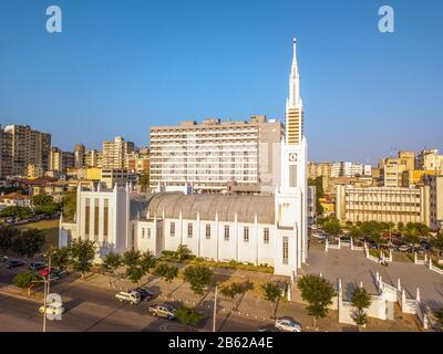 Aerial view of Cathedral of Maputo on Independence Square, capital city of Mozambique - Stock Photo