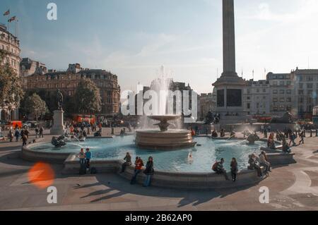 London, Uk - October 12, 2009 - View of Trafalgar square. - Stock Photo