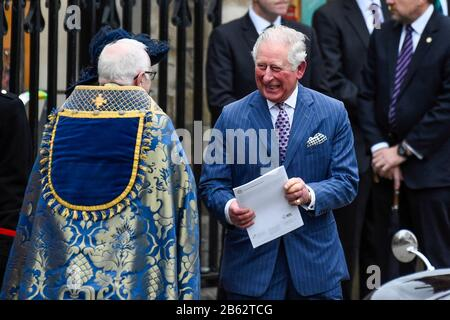 London, UK.  9 March 2020. Prince Charles and Duchess of Cornwall leave Westminster Abbey after attending the annual church service on Commonwealth Day.  Credit: Stephen Chung / Alamy Live News - Stock Photo