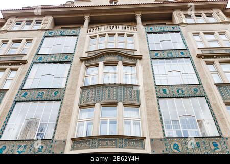 PRAGUE, CZECH REPUBLIC - 18 MARCH, 2017: Buildings architecture in Jewish Quarter