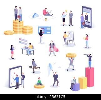 Isometric illustration of office workers and business people working together and mobile devices - Stock Photo