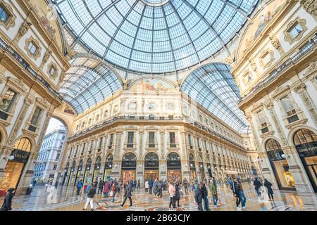 Milan, Italy - January 21 2019: Shopping art gallery in Milan. Galleria Vittorio Emanuele II, Italy
