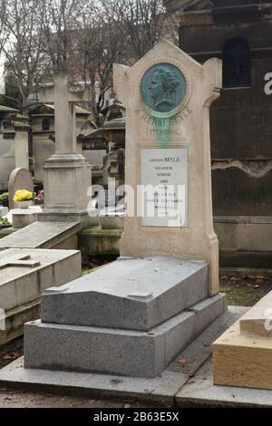 Grave of French novelist Marie-Henri Beyle, better known as Stendhal (1783-1842) at Montmartre Cemetery (Cimetière de Montmartre) in Paris, France. - Stock Photo