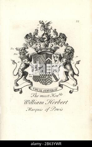 Coat of arms and crest of the right honorable William Herbert, 2nd Marquess of Powis, 1660-1745. Copperplate engraving by Andrew Johnston after C. Gardiner from Notitia Anglicana, Shewing the Achievements of all the English Nobility, Andrew Johnson, the Strand, London, 1724. - Stock Photo