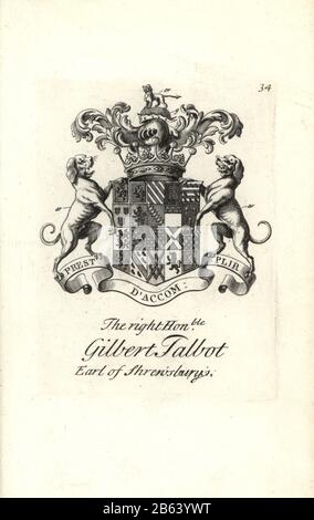 Coat of arms and crest of the right honorable Gilbert Talbot, 13th Earl of Shrewsbury, 1673-1743. Copperplate engraving by Andrew Johnston after C. Gardiner from Notitia Anglicana, Shewing their Achievements of all the English Nobility, Andrew Johnson, the Strand, London, 1724. - Stock Photo