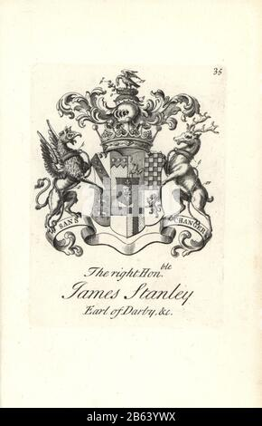 Coat of arms and crest of the right honorable James Stanley, 10th Early of Darby, 1664-1736. Copperplate engraving by Andrew Johnston after C. Gardiner from Notitia Anglicana, Shewing their Achievements of all the English Nobility, Andrew Johnson, the Strand, London, 1724. - Stock Photo