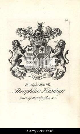 Coat of arms and crest of the right honorable Theophilus Hastings, 9th Earl of Huntingdon, 1696-1746. Copperplate engraving by Andrew Johnston after C. Gardiner from Notitia Anglicana, Shewing their Achievements of all the English Nobility, Andrew Johnson, the Strand, London, 1724. - Stock Photo