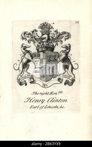 Coat of arms and crest of the right honorable Henry Clinton, 7th Earl of Lincoln, 1684-1728. Copperplate engraving by Andrew Johnston after C. Gardiner from Notitia Anglicana, Shewing their Achievements of all the English Nobility, Andrew Johnson, the Strand, London, 1724. - Stock Photo