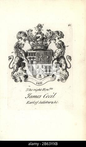 Coat of arms and crest of the right honorable James Cecil, 5th Earl of Salisbury, 1691-1728. Copperplate engraving by Andrew Johnston after C. Gardiner from Notitia Anglicana, Shewing their Achievements of all the English Nobility, Andrew Johnson, the Strand, London, 1724. - Stock Photo