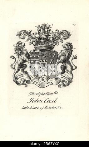 Coat of arms and crest of the right honorable John Cecil, 6th Earl of Exeter, 1674-1721. Copperplate engraving by Andrew Johnston after C. Gardiner from Notitia Anglicana, Shewing their Achievements of all the English Nobility, Andrew Johnson, the Strand, London, 1724. - Stock Photo