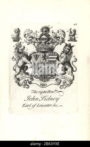Coat of arms and crest of the right honorable Jocelyn Sidney, 7th Earl of Leicester, 1682-1743. Copperplate engraving by Andrew Johnston after C. Gardiner from Notitia Anglicana, Shewing their Achievements of all the English Nobility, Andrew Johnson, the Strand, London, 1724. - Stock Photo