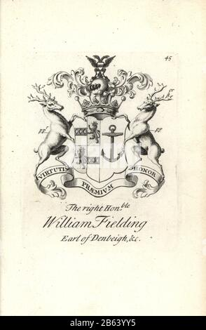 Coat of arms and crest of the right honorable William Fielding, 5th Earl of Denbeigh, 1697-1755. Copperplate engraving by Andrew Johnston after C. Gardiner from Notitia Anglicana, Shewing their Achievements of all the English Nobility, Andrew Johnson, the Strand, London, 1724. - Stock Photo