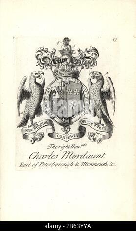 Coat of arms and crest of the right honorable Charles Mordaunt, 3rd Earl of Peterborough and 1st Earl of Monmouth, 1658-1736. Copperplate engraving by Andrew Johnston after C. Gardiner from Notitia Anglicana, Shewing their Achievements of all the English Nobility, Andrew Johnson, the Strand, London, 1724. - Stock Photo