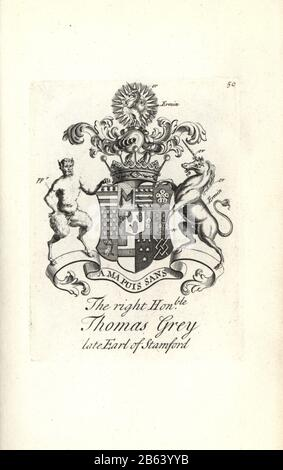 Coat of arms and crest of the right honorable Thomas Grey, 2nd Earl of Stamford, 1654-1720. Copperplate engraving by Andrew Johnston after C. Gardiner from Notitia Anglicana, Shewing their Achievements of all the English Nobility, Andrew Johnson, the Strand, London, 1724. - Stock Photo