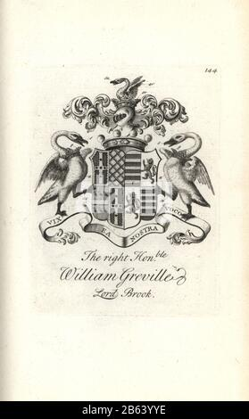 Coat of arms and crest of the right honorable William Greville, 7th Baron Brooke, 1695-1727. Copperplate engraving by Andrew Johnston after C. Gardiner from Notitia Anglicana, Shewing their Achievements of all the English Nobility, Andrew Johnson, the Strand, London, 1724. - Stock Photo