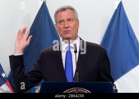 New York, United States. 09th Mar, 2020. Mayor Bill de Blasio gives updates on the city's COVID-19 coronavirus developments at NYC Emergency Management Center in Brooklyn. Credit: SOPA Images Limited/Alamy Live News - Stock Photo
