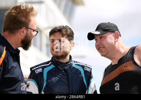 Italian race car driver Giancarlo Fisichella meets with local fans during the Borland Racing S5000 test at Winton Raceway, Victoria, March 2020 - Stock Photo