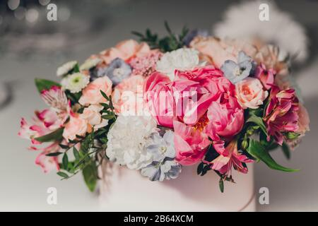 Colorful decoration for wedding celebration. Beauty bridal interior. Bouquet and flowers in hall - Stock Photo