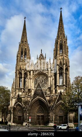 the Rouen Cathedral – known as Notre-Dame de l'Assomption de Rouen is a Roman Catholic church ,The magnificent Gothic cathedral of Rouen has the highest church spire in France and a wealth of art, history and architectural details - Stock Photo