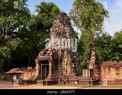 Archeological site ,The South Gate of Angkor Thom leads to Bayon Temple. Lined with 54 stone figures engaged in a performance of a famous Hindu story, it extends about 50 metres across a moat.