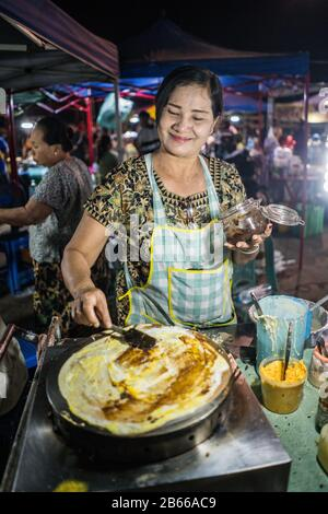 Street market in the Hpa An, Myanmar, Asia. - Stock Photo
