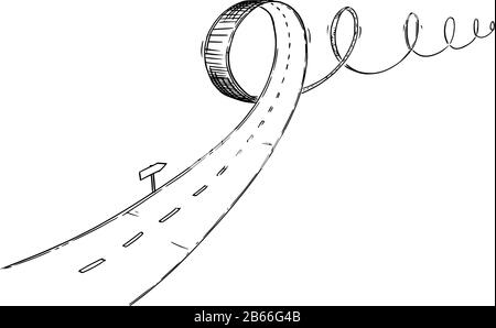 Vector black and white conceptual business drawing or illustration of turbulent road, problem or obstacle in way, uncertain direction and difficult choices. - Stock Photo