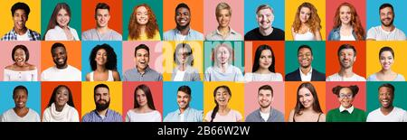 Mosaic Of Smiling Diverse People Faces On Bright Colorful Backgrounds - Stock Photo