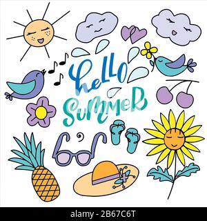 Set of cute, cartoony characters and lettering - hello summer - in vector graphics on a white background. For the design of postcards, wallpapers
