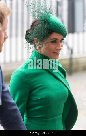 London, Britain. 9th Mar, 2020. Meghan Markle, Duchess of Sussex, arrives at Westminster Abbey to attend the annual Commonwealth Service at Westminster Abbey on Commonwealth Day in London, Britain, March 9, 2020. Credit: Ray Tang/Xinhua/Alamy Live News - Stock Photo