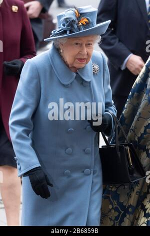 London, Britain. 9th Mar, 2020. British Queen Elizabeth II arrives at Westminster Abbey to attend the annual Commonwealth Service at Westminster Abbey on Commonwealth Day in London, Britain, March 9, 2020. Credit: Ray Tang/Xinhua/Alamy Live News - Stock Photo