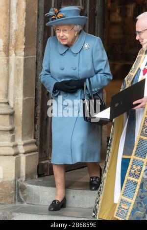 London, Britain. 9th Mar, 2020. British Queen Elizabeth II leaves Westminster Abbey after attending the annual Commonwealth Service at Westminster Abbey on Commonwealth Day in London, Britain, March 9, 2020. Credit: Ray Tang/Xinhua/Alamy Live News - Stock Photo