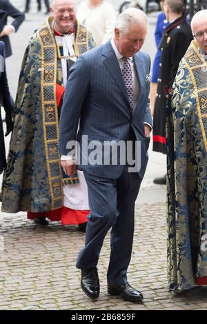 London, Britain. 9th Mar, 2020. Britain's Prince Charles, Prince of Wales, arrives at Westminster Abbey to attend the annual Commonwealth Service at Westminster Abbey on Commonwealth Day in London, Britain, March 9, 2020. Credit: Ray Tang/Xinhua/Alamy Live News - Stock Photo