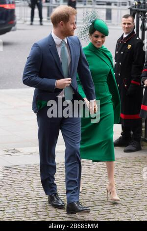 London, Britain. 9th Mar, 2020. Prince Harry and his wife Meghan Markle arrive at Westminster Abbey to attend the annual Commonwealth Service at Westminster Abbey on Commonwealth Day in London, Britain, March 9, 2020. Credit: Ray Tang/Xinhua/Alamy Live News - Stock Photo