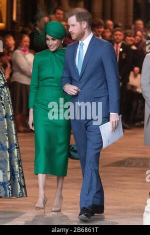 London, Britain. 9th Mar, 2020. Prince Harry and his wife Meghan Markle leave Westminster Abbey after attending the annual Commonwealth Service at Westminster Abbey on Commonwealth Day in London, Britain, March 9, 2020. Credit: Ray Tang/Xinhua/Alamy Live News - Stock Photo