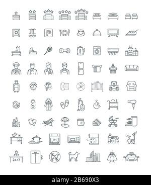 Booking hotel, motel or hostel room with services thin line vector icons. Rent an apartment with private facilities while traveling. Black outline sym - Stock Photo