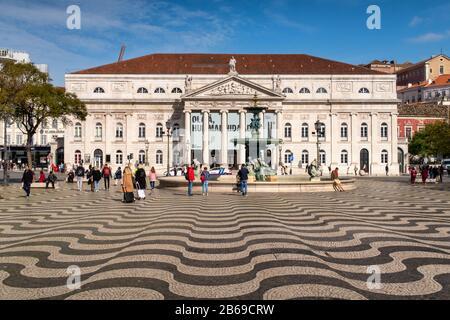 Lisbon, Portugal - 8 March 2020: facade of the National Theatre Dona Maria II on Rossio square - Stock Photo