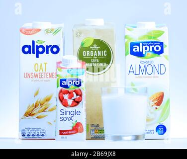 Plant-based alternatives to dairy milk and cream - Stock Photo