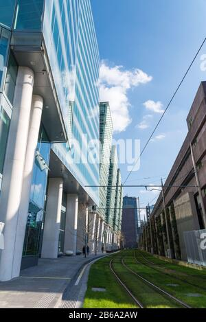 tramlines running through Snowhill in Birmingham City Centre,West Midlands, UK - Stock Photo