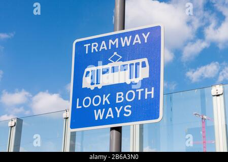 Sign warning Tramway Look Both Ways by Snowhill Tram Station in Birmingham city centre - Stock Photo