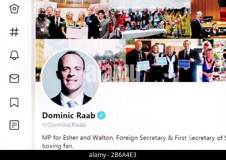 Twitter page (March 2020) Dominic Raab MP, Foreign Secretary - Stock Photo