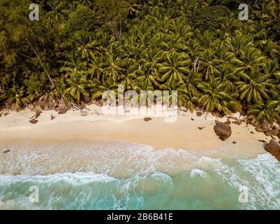 Praslin tropical island Seychelles, drone view above tropical Island Seychelles