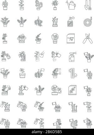 Houseplant caring pixel perfect linear icons set. Indoor gardening tools. Watering, fertilizing. Customizable thin line contour symbols. Isolated - Stock Photo