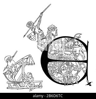 Siege of Carlisle by the Scots, AD 1315. Andrew Harclay, 1st Earl of Carlisle (c1270-1323) (identifiable by the coat of arms on his shield) throwing spears at the soldiers of Robert I. Initial letter of Edward II's charter to Carlisle (1316) comemmorating Harclay's successfull defence of Carlisle Castle during it's siege by Robert I of Scotland in July and August 1315. The Siege of Carlisle was an event during the First War of Scottish Independence.