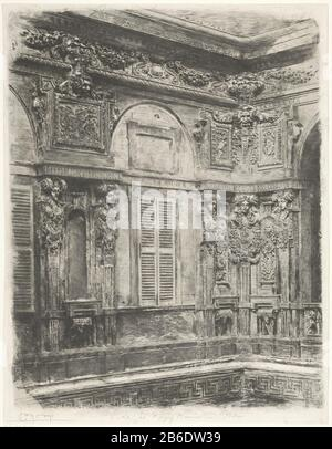 Courtyard of Palazzo Marino, Milan Cortile Palazzo del Marino - Milano (title object) A part of the richly with sculpture decorated facade in the courtyard of Palazzo Marino Milaan. Manufacturer : printmaker Luigi Conconi (listed property) Place manufacture: Italy Date: 1862 - 1886 Physical features: etching, drypoint and plate tone material: paper Technique: etching / dry needle / plate tone dimensions: sheet: 574 mm × h 443 b mm Subject: façade or inner court inner court or palace or 'hôtel' - Stock Photo